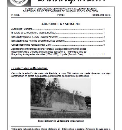 """Etnografiari buruzko buletina, """"Larraganena"""", 1 Zb., argitaratuta dago"""
